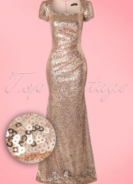30s Jana Sequins Maxi Dress in Champagne