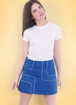 60s Amy Piped Mini Skirt in Blue and White
