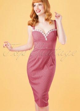 50s Cindy Pencil Dress in Red and White Gingham