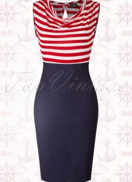 50s Sally Wiggle Dress in Navy with Red and White Stripes