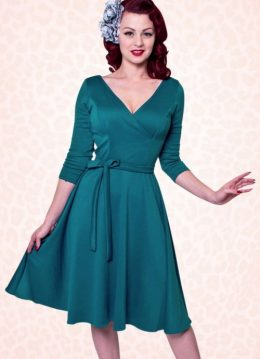 50s Donna Swing Dress in Teal