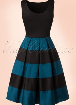 50s Anna Dress in Black and Blue