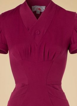 40s Germaine Lee Pencil Dress in Raspberry