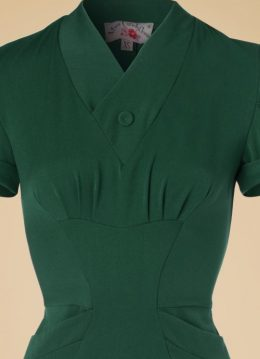 40s Germaine Lee Pencil Dress in Emerald Green