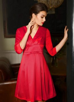 50s Mabel Bow Dress in Red