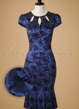 50s Correna Pencil Dress in Metallic Blue