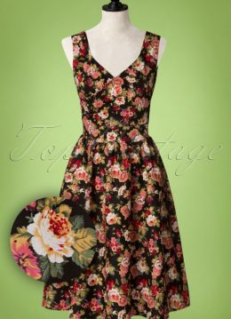 50s May Floral Swing Dress in Black
