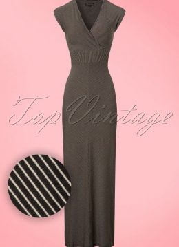 70s Lot Striped Maxi Dress in Black and Beige