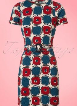 60s Maes Solide Dress in Cream Blue and Wine