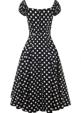 Collectif Dolores Doll Polkadot Dress Black