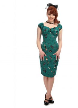 Collectif Dolores Vegas Vamp 50's Pencil Jurk