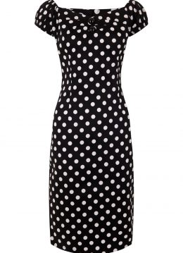 Collectif Dolores Polkadot Pencil Dress Black
