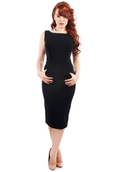 Collectif Hepburn Classic Pencil Dress Black