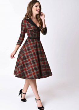 Unique Vintage Trudy Plaid Tartan 50's Swing Jurk Rood