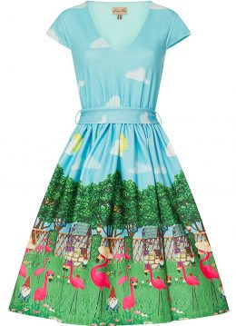 Lindy Bop Doreen Flamingo Garden 50's Swing Jurk Blauw