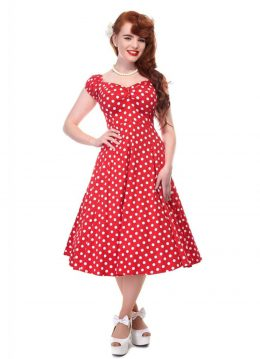 Collectif Dolores Polkadot Swing Jurk Rood