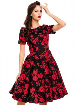 Dolly&Dotty Darlene Red Roses 50's Swing Jurk Zwart