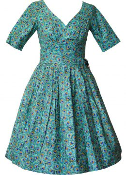 Victory Parade Day Vintage Peacock Feathers 50's Swing Jurk
